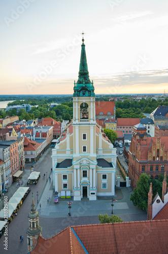 Majestic church on town square of Torun, Poland