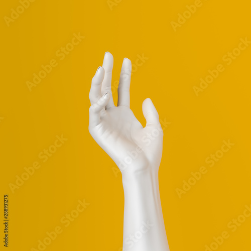 White open hand sculpture giving, holding, take or showing something gesture isolated on yellow background, 3d illustration, Wall mural