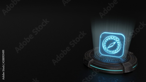 3d hologram symbol of safari icon render