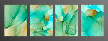 Green, Turquoise And Yellow Ink Vector Textures Backgrounds Set. Paint Mixing, Fluid Art.
