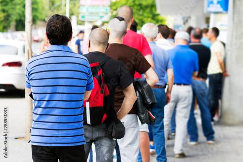 Fotografie, Obraz people  queue  in  line up ,  draggle , selective focus