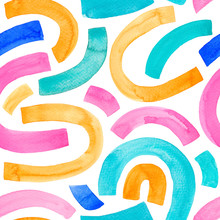 Colorful Watercolor Seamless Childish Pattern With Linear Arches. Multicolors Semi Circles.