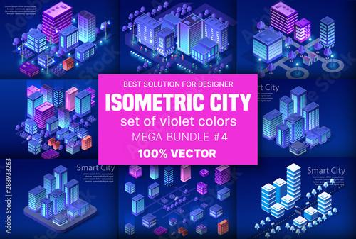 Fotografía Ultraviolet Isometric City