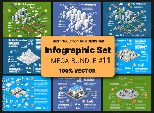 Isometric set infographics concept of blocks - 288934073