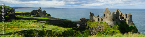 Panoramic view of Dunluce Castle above the cliffs, Antrim, Causeway Coastal Route, Northern Ireland