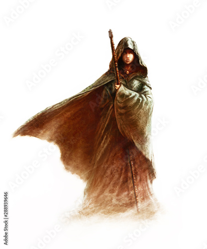 Fantasy young witch - beautiful woman with cloak and hood holding a magic staff, Wallpaper Mural
