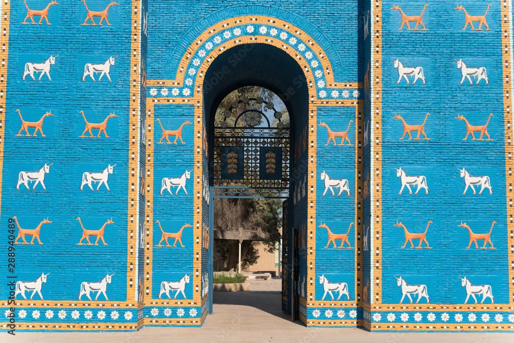 Fototapety, obrazy: Copy of Ishtar gates in Babylon ruins , Iraq