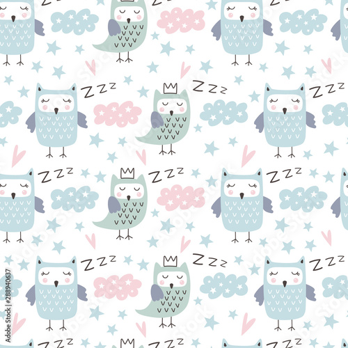 Fotografie, Obraz Seamless pattern with cute owl