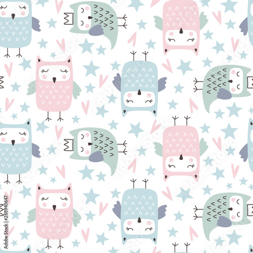 Fototapeta Seamless pattern with cute owl
