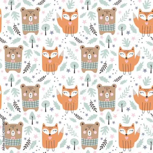 Fotografie, Obraz Seamless pattern with cute fox and bear