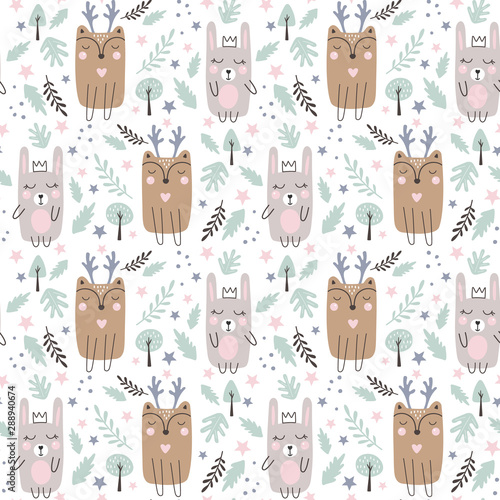 Obraz na plátně Seamless pattern with cute rabbits and deer
