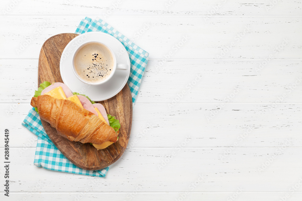 Fototapety, obrazy: Coffee and croissant sandwich