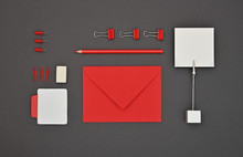 Neatly Organized Red Stationer...