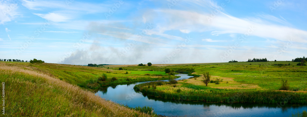 Fototapety, obrazy: landscape with river and blue sky