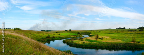 Spoed Fotobehang Weide, Moeras landscape with river and blue sky