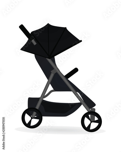 Black baby stroller. vector illustration Canvas Print