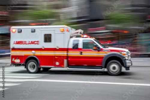 ambulance on emergency car Canvas Print