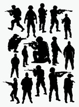 Vector Silhouettes Of Soldiers