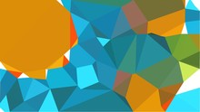 Abstract Geometric Background With Golden Rod, Teal Blue And Olive Drab Color Triangles. Can Be Used For Wallpaper, Poster, Cards Or Graphic Elements