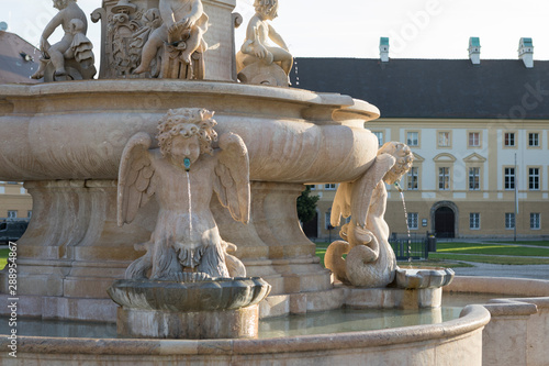 Cherubim spraying water at the famous Marienbrunnen fountain at pilgrimage pla Wallpaper Mural