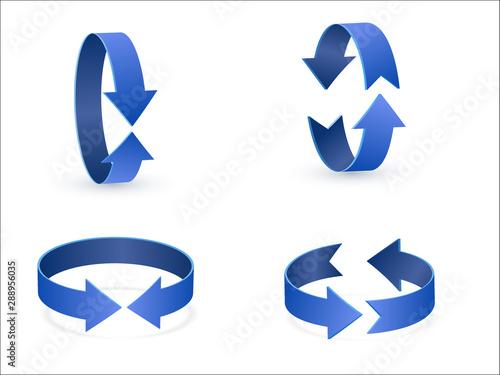 3D rotation sign blue icon 360 rotation arrows Canvas Print