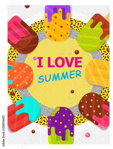 Summer Ice Cream Vector Poster Template