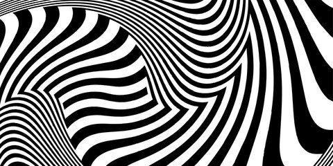Abstract black and white striped background. Geometric pattern with visual distortion effect. Optical illusion. Op art.