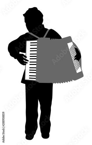 Vászonkép  Accordionist boy