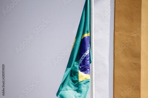Photo sur Aluminium Amérique du Sud Brazilian flag fluttering from a flag pole - Brazil