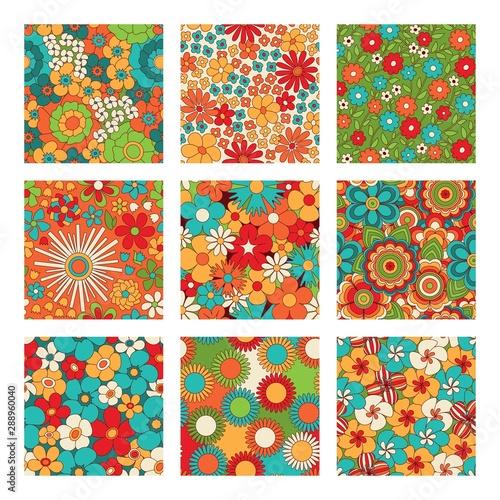 Photographie Vintage floral seamless patterns set