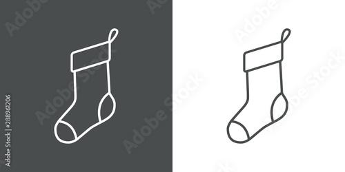Cuadros en Lienzo Icono plano lineal calcetín navidad en gris y blanco