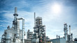 canvas print picture - Close up Industrial view at oil refinery plant form industry zone with sunrise and cloudy sky