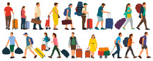 People With Suitcases Bags And Backpacks. A Crowd Of People Tourists. Migration Of People. Vector Illustration Isolated Set