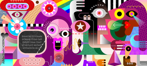In de dag Abstractie Art People in Cyberspace vector illustration