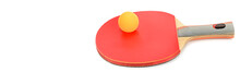 Ping-pong Racket Isolated On White Background. Free Space For Text. Wide Photo.