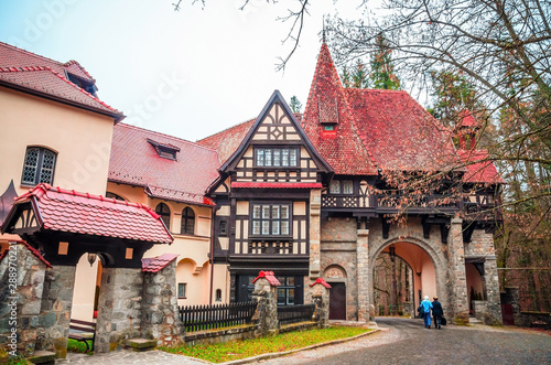 Foto op Canvas Oost Europa Typical houses near Peles castle in the city Sinaia, Carpathian Mountains, Romania