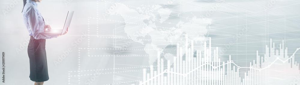 Fototapety, obrazy: Future Financial Technology Interface. Graph Stock Market chart. World map on virtual screen. Website Banner.
