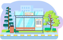 Bus Stop Vector Background Ill...