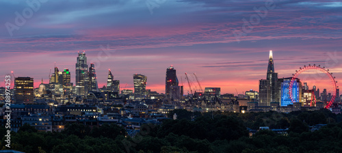 London City Sunrise aerial View