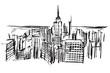 Rysynek ręcznie rysowany. Widok na drapacze chmów w Nowym Jorku w USA