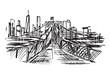 Rysynek ręcznie rysowany. Widok na most brookliński w Nowym Jorku w USA