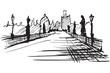 Rysynek ręcznie rysowany.  Most Karola w Pradze w Czechach