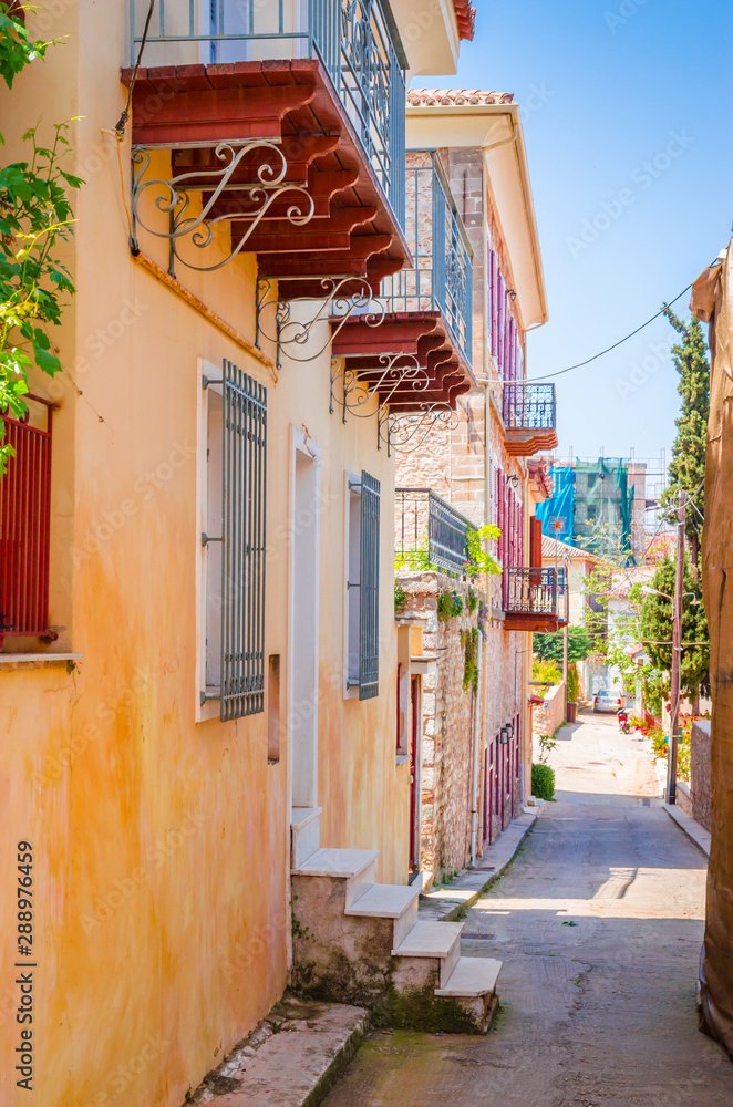 Fototapety, obrazy: Traditional cozy greek street in city Nafplio, Greece