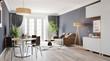 Leinwanddruck Bild - Large luxury modern bright interior room 3d illustration