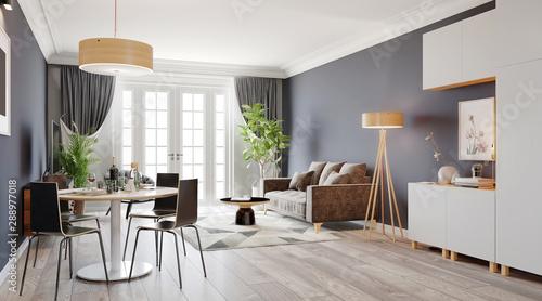 Obraz Large luxury modern bright interior room 3d illustration - fototapety do salonu