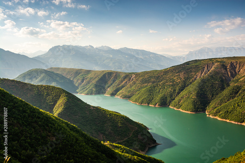 Fierza reservoir in Albania between Kukes and Fierze Canvas Print