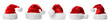 canvas print picture - Set of red Santa Claus hats on white background. Banner design