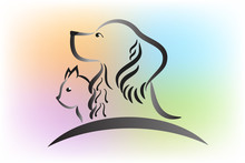 Cat And Dog Identity Id Card Vector Image Logo