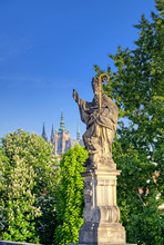 The Statues Along The Charles Bridge In Prague, Czech Republic.
