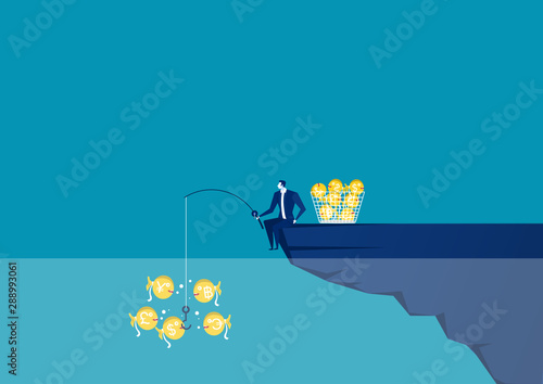 Cuadros en Lienzo  Businessman sitting at the edge of cliff with fishing rod with a dollar  Creative vector illustration for business and finance concept
